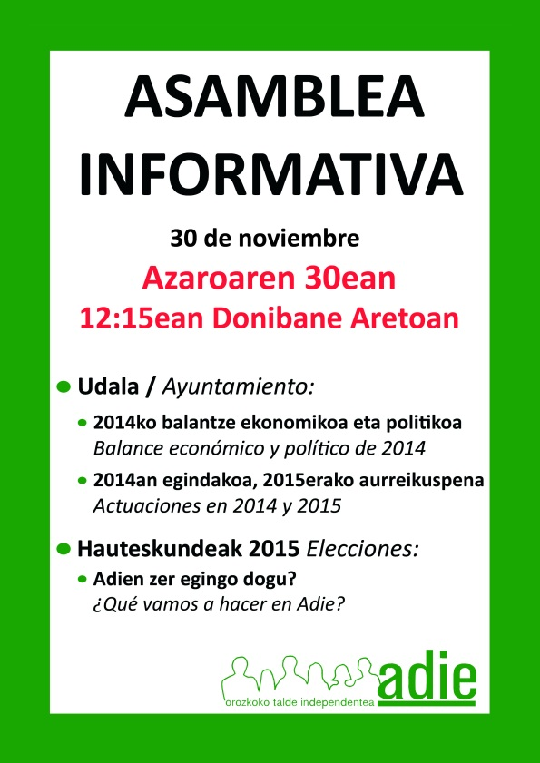 Asamblea informativa noviembre 2014